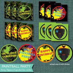 Paintball Cupcake toppers Instant download by thesillynillystudio, $5.00