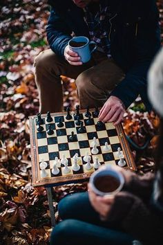 Playing chess together in the autumn. Politicking and reminiscing together about life...