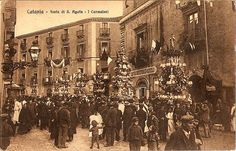Festival of Saint Agatha in Catania (1915) Basques have a tradition of gathering on Saint Agatha's Eve (Basque: Santa Ageda bezpera) and going round the village.    Homeowners can choose to hear a song about her life, accompanied by the beats of their walking sticks on the floor or a prayer for the household's deceased.    After that, the homeowner donates food to the chorus.