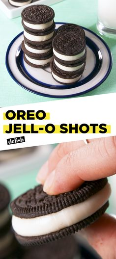 Oreo Jell-O Shots = the most dangerous snack we've ever made. Get the recipe at Delish.com. #oreo #jello #shots #vodka #titos #alcohol #cookie #sandwichcookie #nabisco #delish #recipe #easyrecipe #party