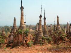 "abandonedandurbex: ""Stupas near Shwe Inn Thein, Burma/Myanmar [2272 × 1712] Source: https://openpics.aerobatic.io/ """