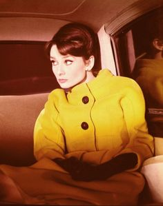 Audrey Hepburn in Charade one of my faves. Hepburn's outfits for this movie were done by Givenchy Divas, Yellow Coat, Mellow Yellow, Mustard Yellow, Audrey Hepburn Mode, Audrey Hepburn Charade, Aubrey Hepburn, Bodies, Charades