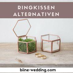 Ringkissen mal anders: Ausgefallene Ringkissen und  Alternativen als Idee für eure Hochzeit. Ringboxen und Ringschatullen.