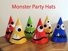 Here is a fun and simple way to make plain party hats into monster hats.  This would be great for a birthday party with a monster theme or even a Halloween party.  It would also be a neat activity for kids to do for fun.