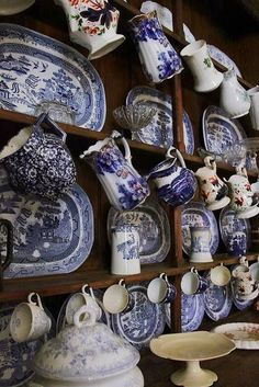Welsh dresser at St. My mother gave me a full set of grandma's Blue Willow dishes and serving pieces that look identical to these. They were our everyday dishes growing up. Blue And White China, Blue China, Love Blue, Blue Dishes, White Dishes, White Plates, Delft, Welsh Dresser, Vintage China