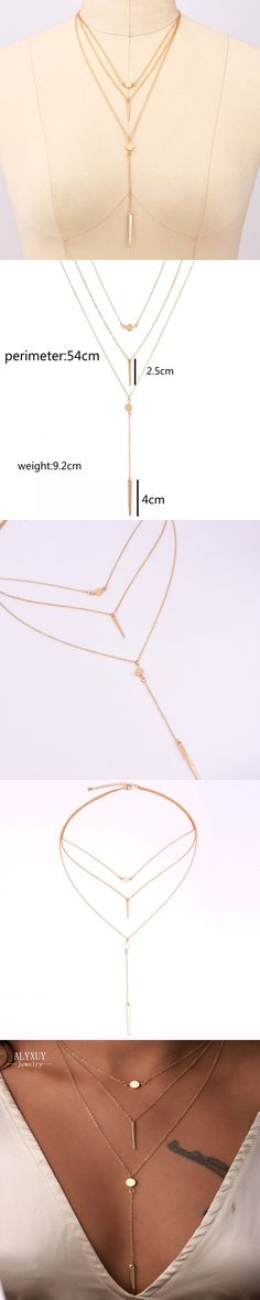 wholesale New fashion trendy jewelry 3 layer round bar chain necklace gift for women girl N2091
