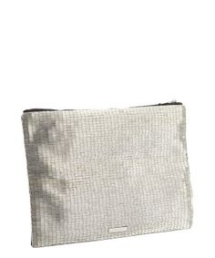 style #328018802 silver bead and black sateen zip clutch