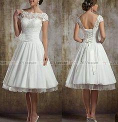 Tea Length Wedding Dress Vintage 50s Corset Back size 20 22 short sleeves