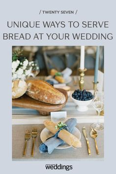 Bread makes for a great wedding appetizer as well as table decor. Your guests will appreciate the pre-dinner snack as well as the unique edible decoration appeal! Summer Wedding Guests, Wedding Reception Food, Wedding Menu, Tulip Wedding, Blue Wedding, Festive Bread, Wooden Wine Crates, Wedding Appetizers, Outdoor Wedding Photography