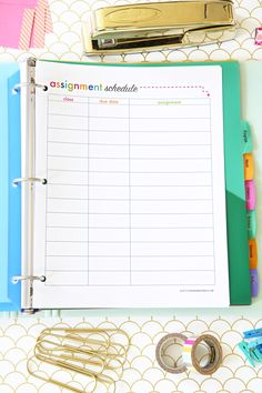 Assignment Schedule Printable, Student Binder with Free Printables for Back-to-School, study aids, high school organization, college organization, middle school organization, pretty printables, printables for girls, printables for boys, resources for students, back to school, graduation gift, student organization, teacher printables