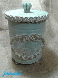 Tin Can Crafts, Crafts To Make, Mod Podge Crafts, Decorated Jars, Gisele, Tins, Coffee Cans, Holiday Crafts, Decorative Boxes