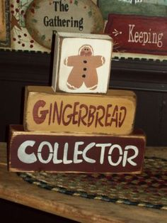 Gingerbread Collector Primitive Stacking Blocks