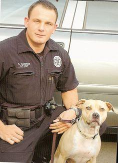 positive pitbulls -Trooper Gardner and K9 Brei, American pit bull, drug detection dog with the Washington State Patrol.