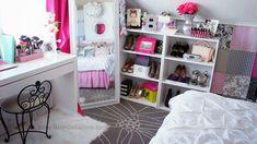 Modern Shabby Chic Room Tour! Pink and White room, BelindaSelene.com, Glam Room
