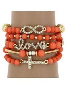 $6.55 5-Piece Love, Infinity, Cross Peach and Goldtone Beaded Stretch Bracelet Set