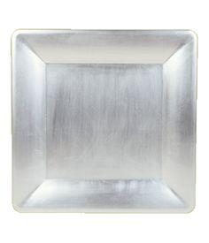 Square Lacquer Tray — Metallic Silver $24
