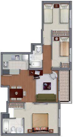 Plano de casa angosta en 3d espacios peque os muebles for Planos de casas 3d