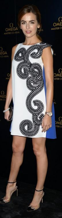 Who made Camilla Belle's white print dress, black cap pumps, clutch handbag, and watch that she wore in Miami on December 10, 2014?