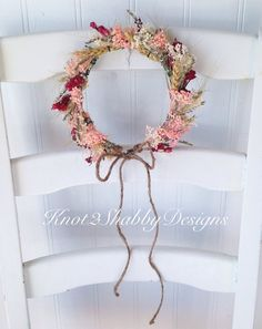 Dried flowers flower crown flower girl by Knot2ShabbyDesigns