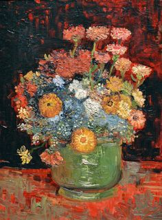 Vincent van Gogh Vase with Zinnias 1886