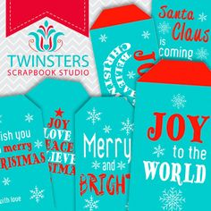 Printable turquoise Christmas tags png  TW110 by Twinsters on Etsy