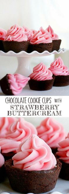 CHOCOLATE COOKIE CUPS WITH STRAWBERRY BUTTERCREAM | These sweet little treats are chocolate sugar cookies filled with vanilla or chocolate buttercream, then topped with strawberry buttercream. For more simple and easy dessert recipes to make, check us out at #iambaker. #cupcakes #foodlover #desserts #yummydesserts #recipeoftheday #buttercreamrecipes