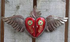 Tin Flaming Heart & Wing Doors that open for photo or Mirror? Mexican Folk Art