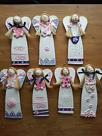 Polymer Clay Projects, Clay Crafts, Diy And Crafts, Paper Clay, Clay Art, Clay Ornaments, Christmas Ornaments, Clay Angel, Pottery Angels