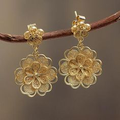 Gold plated filigree flower earrings, 'Yellow Rose'. Shop from #UNICEFMarket and help save the lives of children around the world.