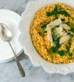 Baked Pumpkin Risotto ~ A Stack of Dishes