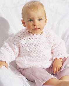"Baby Pullover free crochet pattern - Sizes:   12 mos, 18 mos, 24 mos   Chest measurement: 18"" [45.5 cm], 20"" [51 cm], 22"" [56 cm]   Finished chest: 21 1/2"" [54.5 cm] 24 1/2"" [62 cm] 27 1/4"" [69 cm]   from favecraft.com"