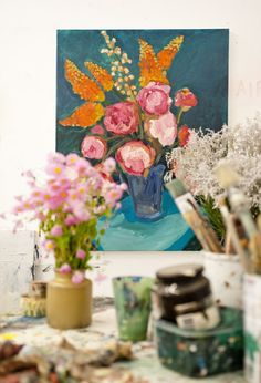 The studio of Sydney artist Laura Jones. photo - Carine Thevenau. via thedesignfiles.net