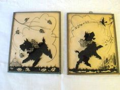 Vintage 2 Silhouette Reverse  Scotty Dog Pictures Convex Glass Copper Frame  25
