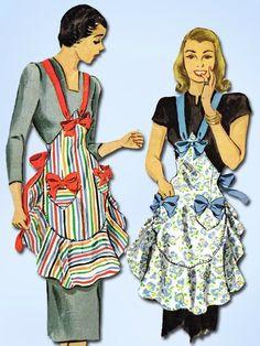 Vintage McCalls Sewing Pattern 1407 Uncut Misses Ruffled Apron Fits All Vintage Apron Pattern, Retro Apron, Aprons Vintage, Vintage Dresses, Vintage Outfits, Sewing Aprons, Mccalls Sewing Patterns, Vintage Sewing Patterns, Clothing Patterns