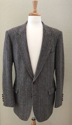 MERIT Gray/Brown 44L Wool Men's Sport Coat with Brown Leather Buttons by StatelyVintageShop on Etsy https://www.etsy.com/listing/554294899/merit-graybrown-44l-wool-mens-sport-coat