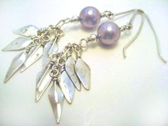 "Lavender Mauve Drop Earrings by Ruby Swan Jewelry on Etsy.  Argentium Sterling Silver with Swarovski Elements 'Crystal Pearls"" $48.00"