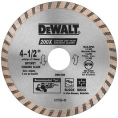 """DEWALT DW4725 High Performance 4-1/2-Inch Dry Cutting Continuous Rim Diamond Saw Blade with 7/8-Inch Arbor for Masonry - DeWALT DW4725 4-1/2"""" High Performance Masonry BladeDEWALT is a leading manufacturer of industrial power tools with more than 300"""