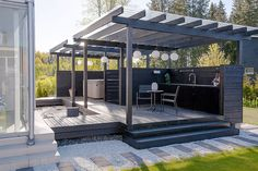 Pergola Videos Terrasse Vegetal - Pergola Bois Plantes - Outdoor Pergola Shade - Small Pergola With Bench - Pergola Deck Pool Pergola Attached To House, Deck With Pergola, Wooden Pergola, Backyard Pergola, Pergola Shade, Backyard Landscaping, Outdoor Pergola, Small Pergola, Black Pergola