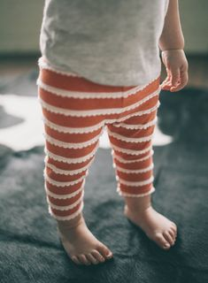 Ruffle Leggings, Burnt Orange with Ivory Scallop Ruffle Detail, Leggings NB- 4T, Infant and Toddler Pants