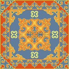 Asian style ethnic pattern. Mongolian, Buryat, Kalmyk, Kazakh traditional ornamental motifs