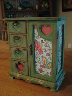 Upcycled Shabby Chic Green Jewelry Box. The Hearts Make This So Cute! With…