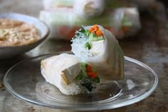 Grilled Tofu Spring Rolls with Peanut Butter Dipping Sauce
