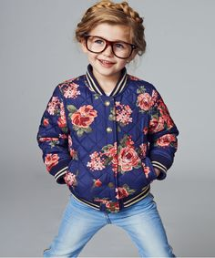 For the girls - Baby K Floral Quilted Bomber Jacket