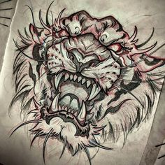 tiger tattoo design Cover Up is part of Amazing Cover Up Tattoos Pictures Before And After You Won - Tigre Hai Tattoos, Asian Tattoos, Bild Tattoos, Body Art Tattoos, Sleeve Tattoos, Tattoo Ink, Arm Tattoo, Small Tattoos, Japanese Tattoo Art