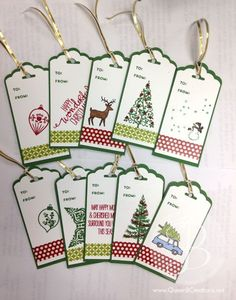 scallop tag topper Stampin Up! Christmas tags  Festival of Trees, Holiday Home, Christmas Cheer and White Christmas stamp sets.
