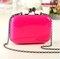 New 2015 Mini Evening Bag Fashion Candy Color Women Messenger Bags Day Clutch Long Chain Shoulder Bag Vintage Women Day Clutch