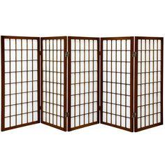 Oriental Furniture 3 ft. Tall Window Pane Shoji Screen - 5 Panel - Walnut, Brown
