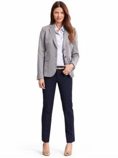 You can still wear a blazer and be business casual!  Maybe mix up the colors on top and bottom rather than having a one-colored suit - similar to this!
