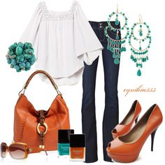Turquoise and Pumpkin