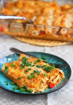 Pumpkin & chicken enchiladas- a twist on a classic dinner recipe.